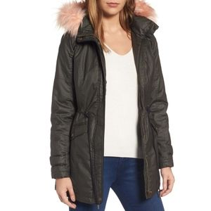 Sebby Collection Waxed Cotton Parka with Faux Fur